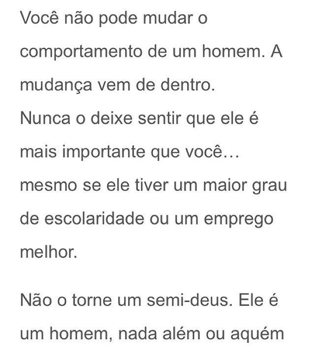 Nunca me canso de ler esse texto da Oprah Winfrey  essa lição serve para todos os relacionamentos da vida...não torne ninguém um semi-Deus e não se sinta um. ❤️