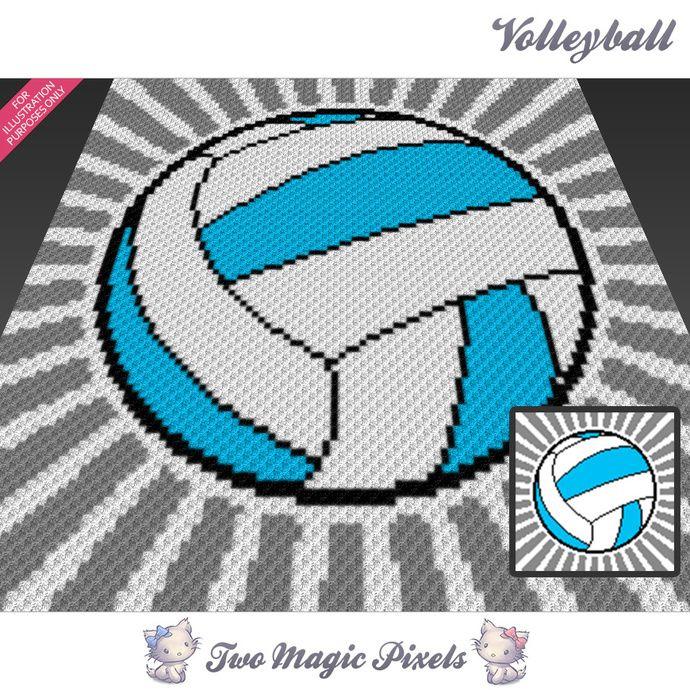 Volleyball crochet graph (C2C, Mini C2C, SC, HDC, DC, TSS