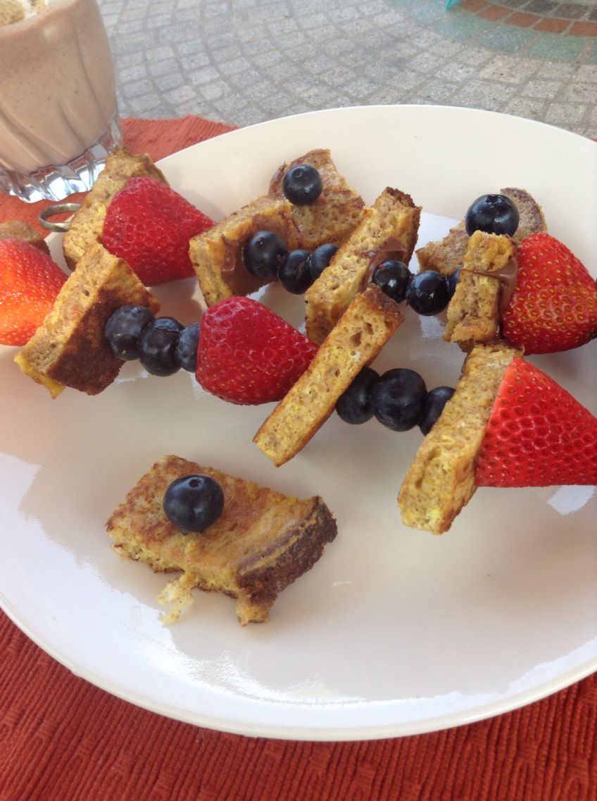French toast berry skewers with Nutella