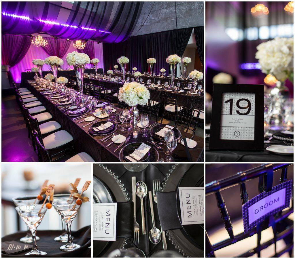 Black white purple wedding- I\'d choose pink instead of purple ...