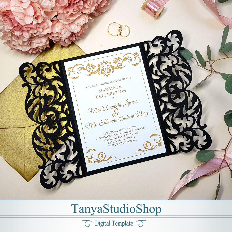 Gate-fold 5x7'' invitation template SVG ai CRD | Etsy | Invitation template,  Invitations, Wedding cards