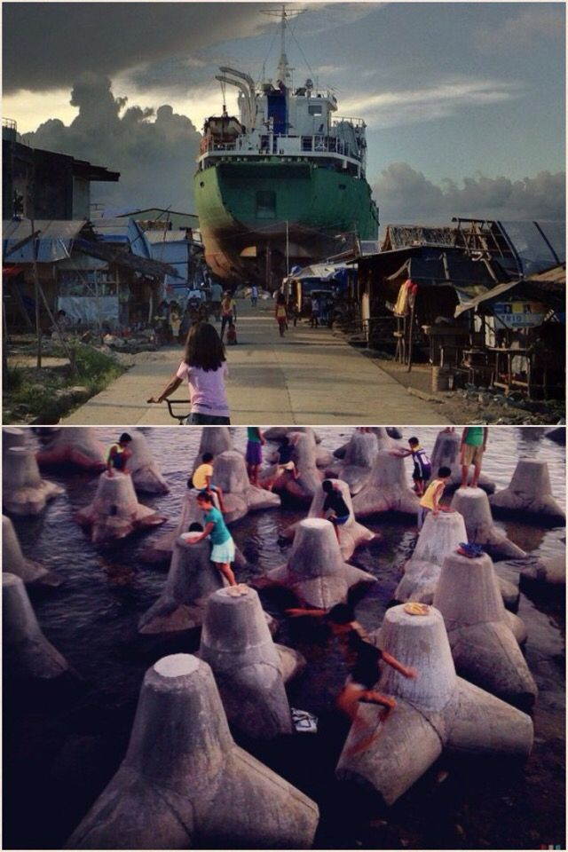"""Two of 29 most power images shared on Instagram in 2014 are from the #Philippines. Above, Life moves on in Tacloban port, 6 months after. Below, children play on """"jackstones"""" or concrete structures made by foreign NGOs to serve as breakwater for storm surges in Eastern Samar, one year after. #Haiyan #YolandaPH #PhotoJournalism #instagram"""