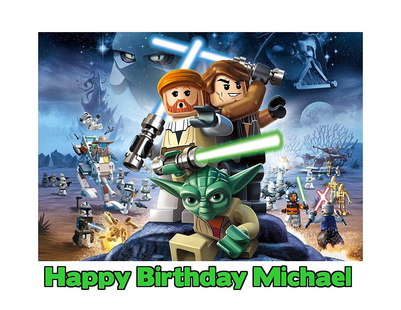 Lego star wars image photo cake topper sheet personalized