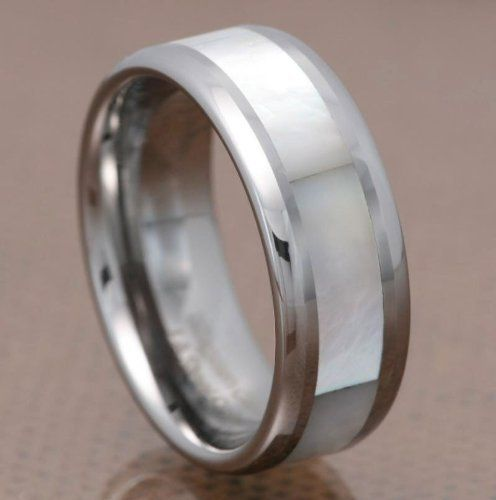 8mm Mother of Pearl Inlay Tungsten Carbide Round Edge Band Men\'s ...
