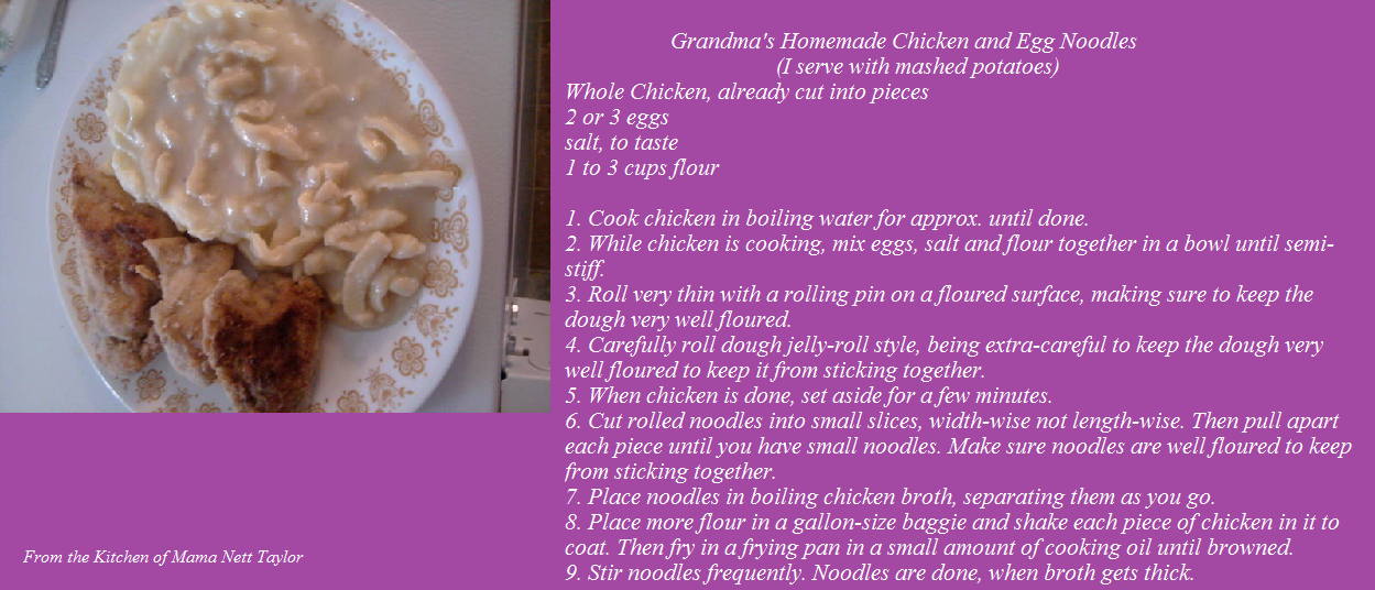 Grandma's Homemade Fried Chicken and Egg Noodles