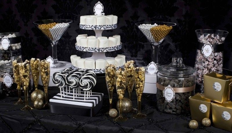 Black Gold And White Buffet Tables In 2019 Candy
