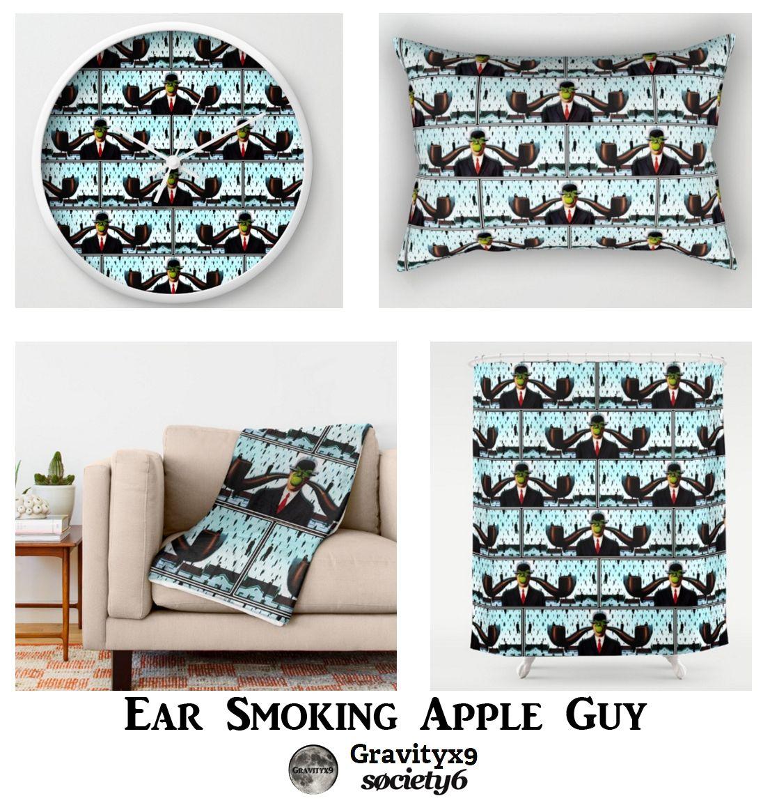 Ear Smoking Apple Guy Standing in the Man Rain - Fine art parody of ...