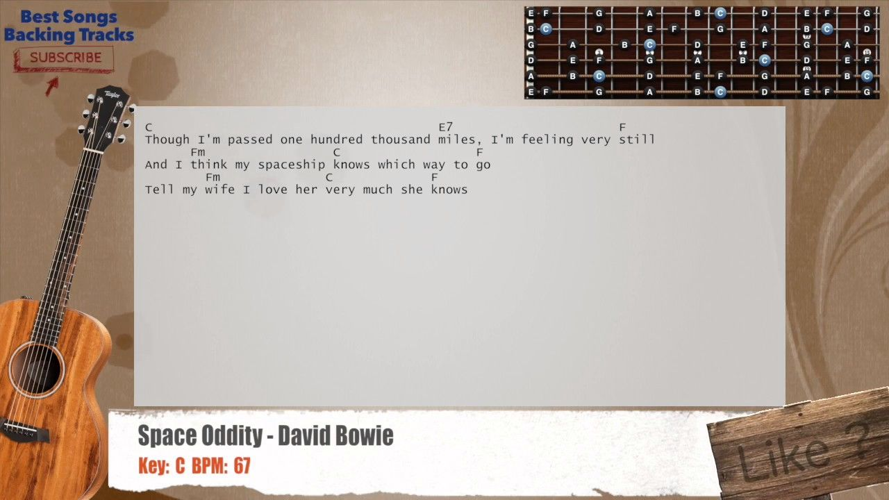 Space Oddity David Bowie Guitar Backing Track With Chords And