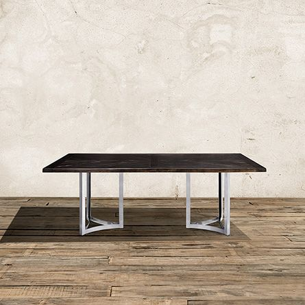 Nobelle 60 Dining Table With Lyon Base In Stainless Steel Arahaus