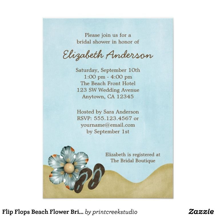 05576fcc26cb83 These flip flop and flower blue summer bridal shower invitations are the  CUTEST! Love them. These are just perfect for a beach theme.