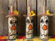 Scarecrow Wine Bottle #diyfalldecor