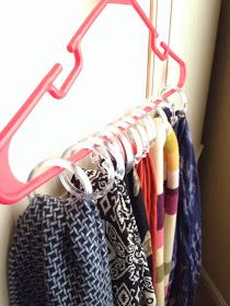shower hooks for scarves. need this! I have too many scarves! haha