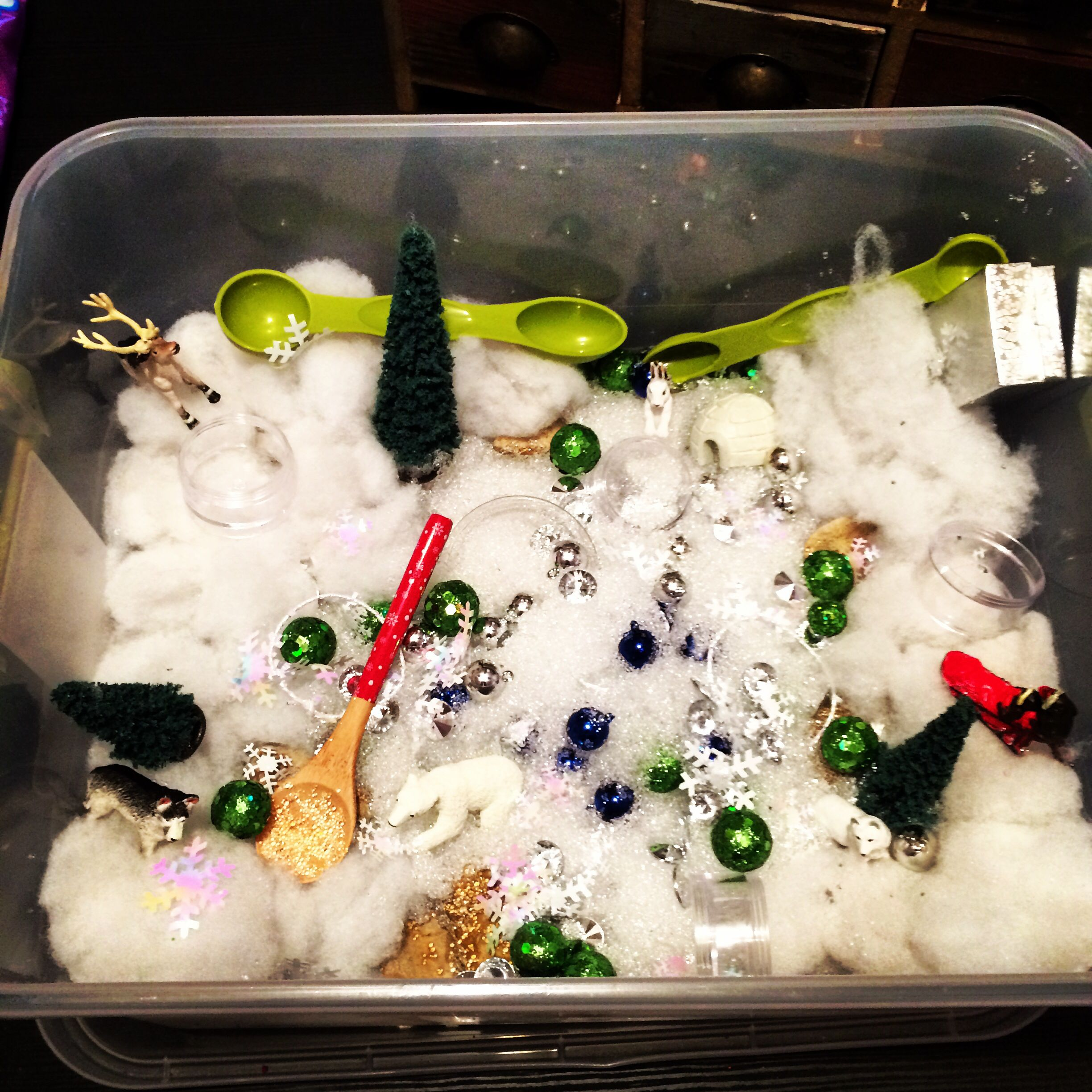 Winter sensory tub.. Using SnowReal decorative snow and fiber fill scented with mint extract