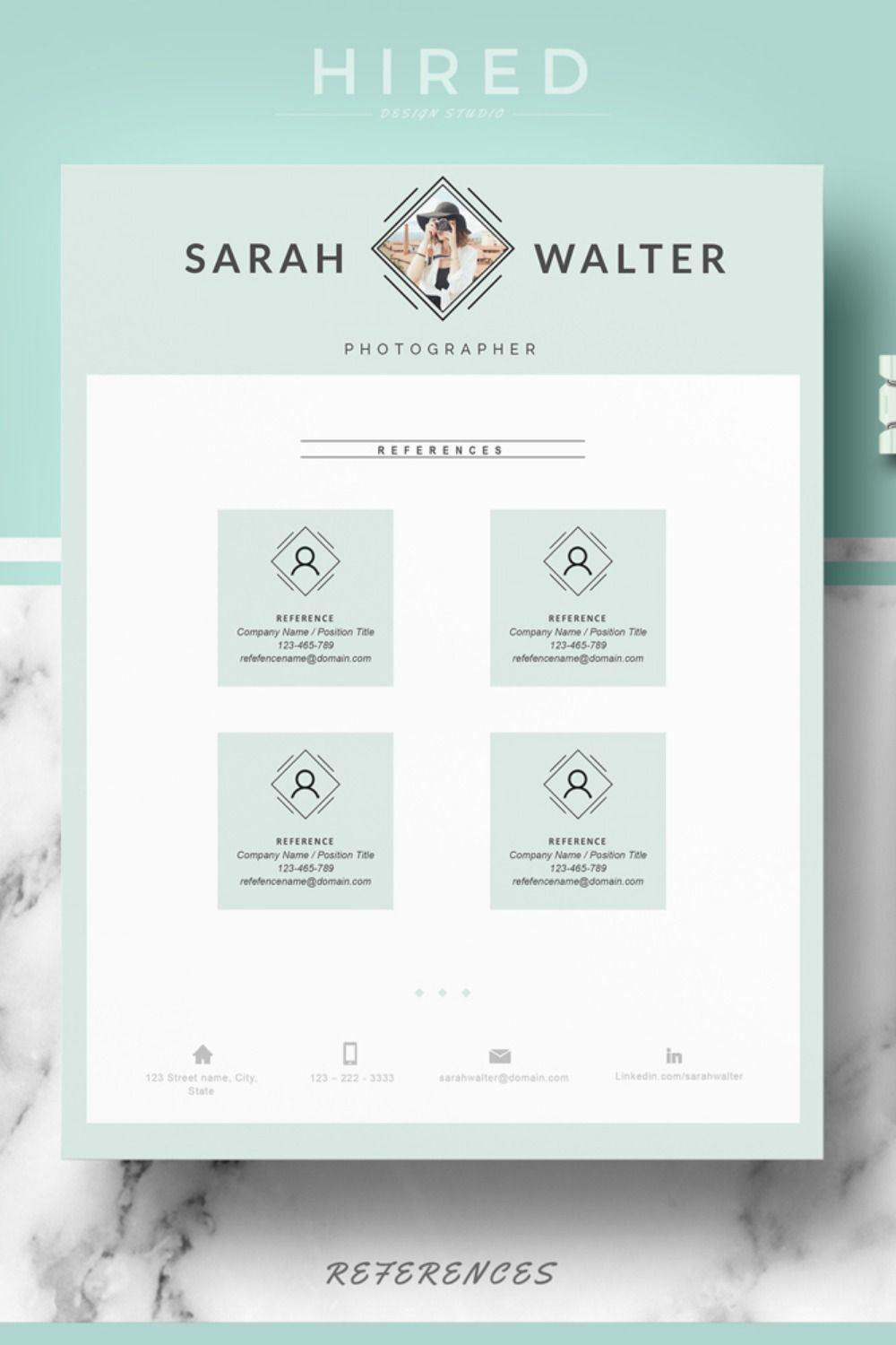 A reference page for a resume should be an a4 page with
