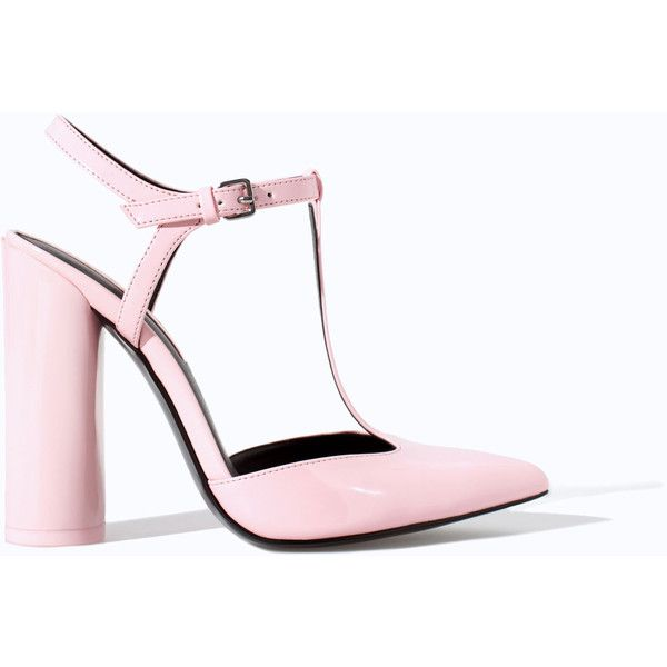 Zara Pointed High Heel Court Shoe With Ankle Strap (290 ARS) ❤ liked on Polyvore featuring shoes, pumps, heels, pink, zara, ankle strap pointed pumps, ankle strap pumps, pink pumps, heel pump and zara pumps