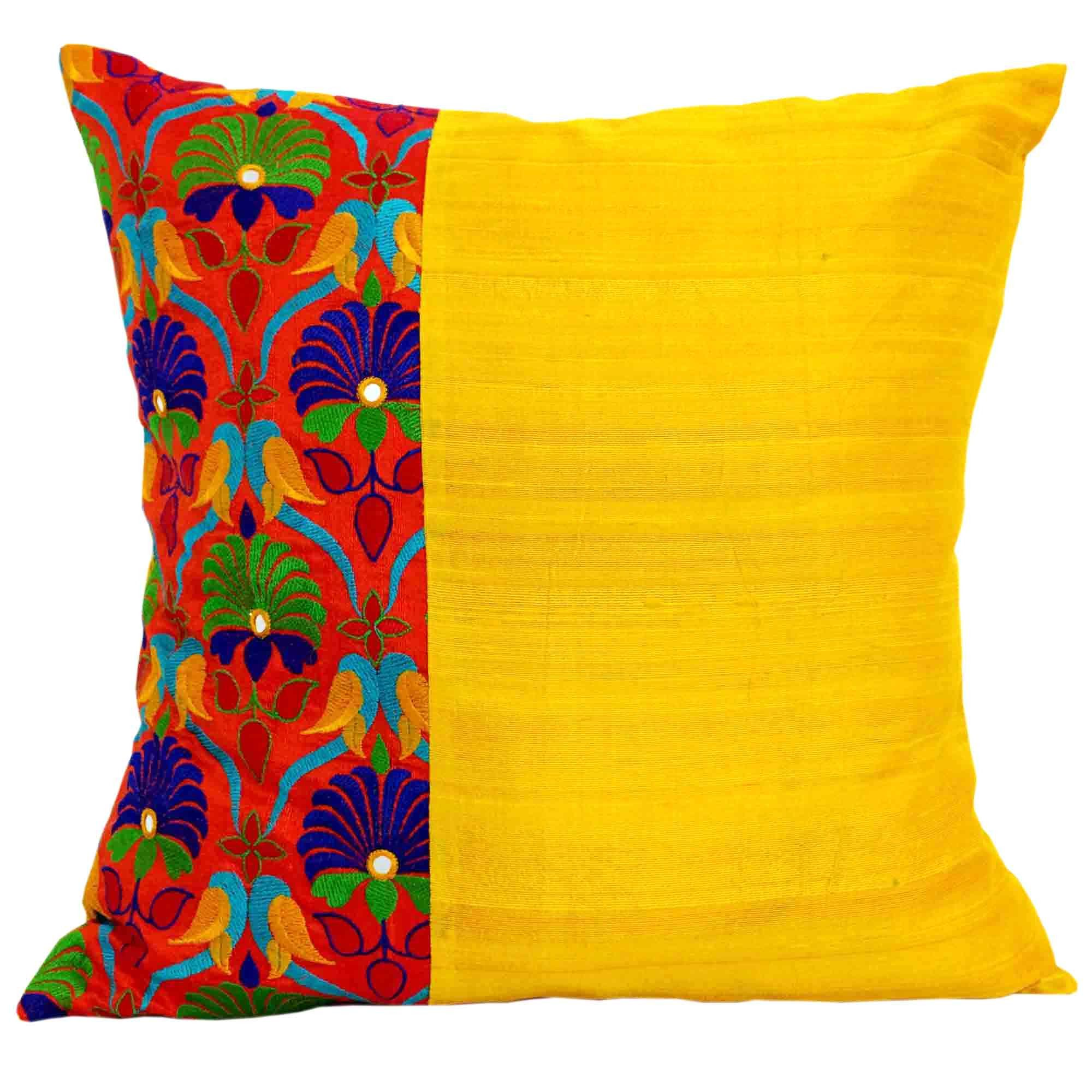 Yellow Silk Decorative Pillows : Kutch Embroidery Silk Pillow Cover in Orange and Yellow Embroidery, Pillows and Pillow talk