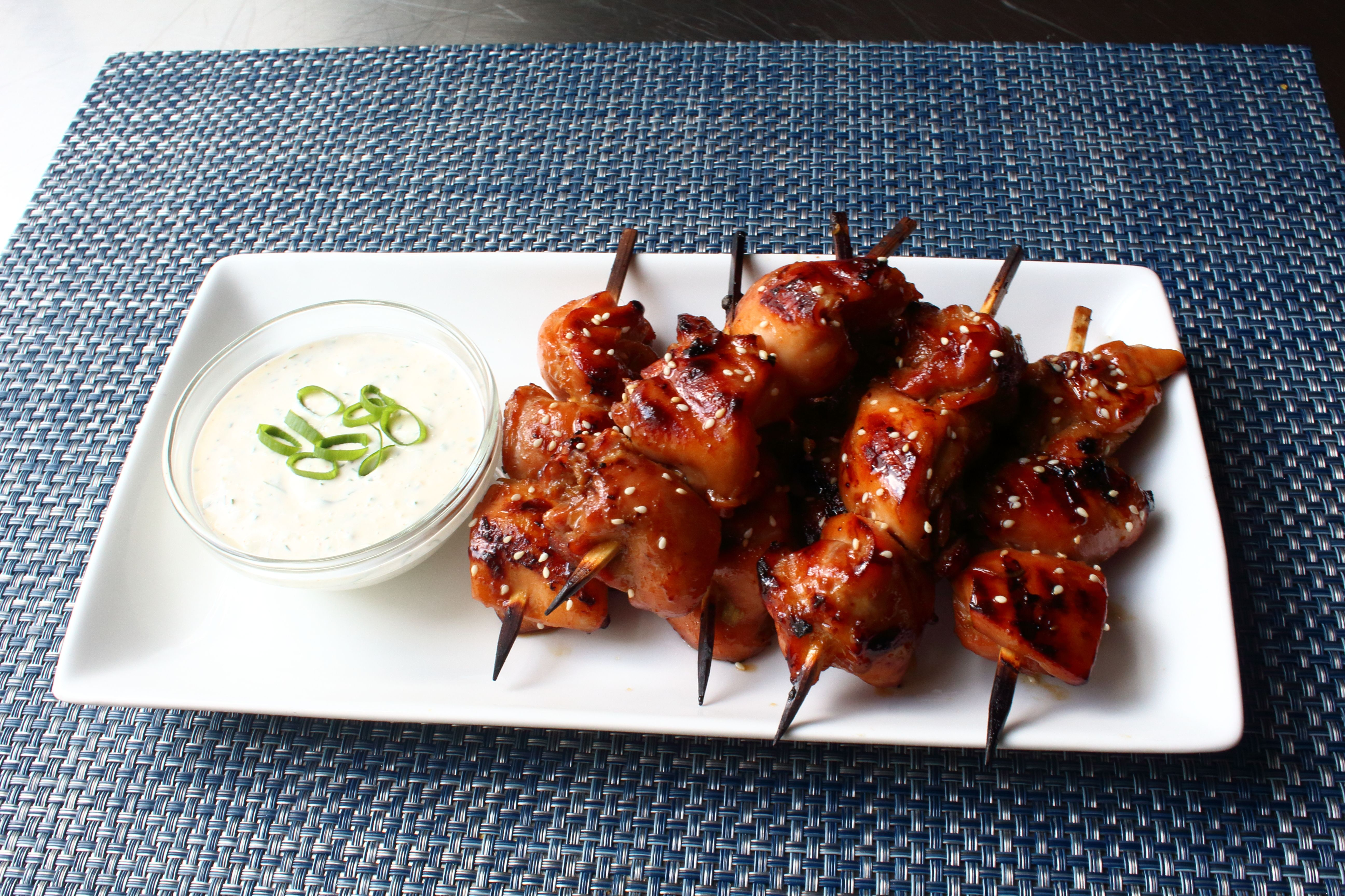 grilled chicken teriyaki skewers with miso ranch  recipe
