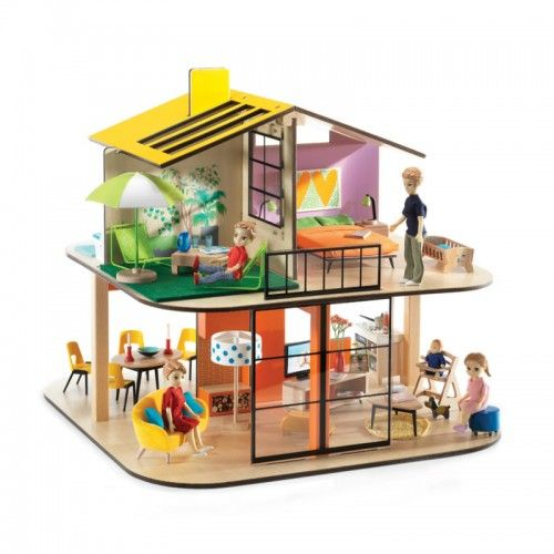 This doll house is inspired by modern architecture. It features clean geometric lines, large glazed surfaces and colourful interiors. Furniture and residents are sold separately.