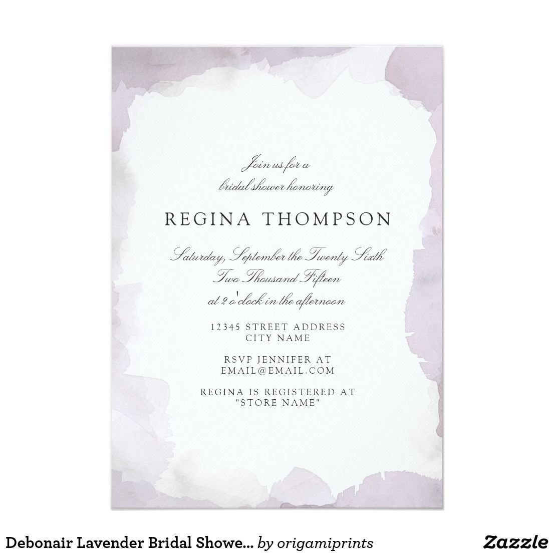 Debonair Lavender Bridal Shower Invitation | Wedding Thank You Cards ...