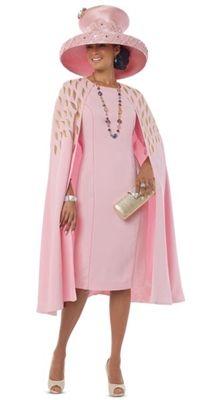 """Donna Vinci 11519 Colors: Pink Dress Length 44"""" Sizes: 8, 10, 12, 14, 16, 18, 20, 22 Matching Hat Available Donna Vinci 11519H http://www.divasdenfashion.com/Donna-Vinci-11519-Caplet-1pc-Dress-p/don-11519.htm #DivasDenFashion #DonnaVinci"""