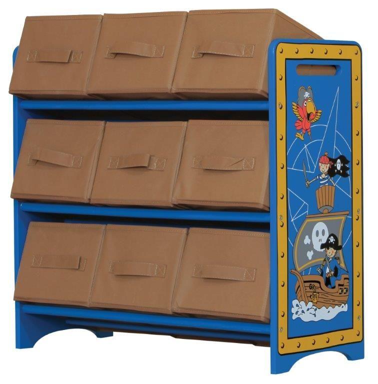 """MiPetiteLife.es - Estantería Pirata Kidsaw.  Estantería ideal para guardar juguetes y mantener la habitación ordenada, ya que, ofrece 9 recipientes de almacenaje.  Decorada con """"Ernie"""" el pirata llevando el timón de su barco y en compañía de sus amigos; """"Patric"""" el loro y su segundo de a bordo """"Bob"""".  Los juguetes pueden ser fácilmente ordenados y de forma rápida.  Dimensiones: H67 x W60 x D28 cms.  www.MiPetiteLife.es"""