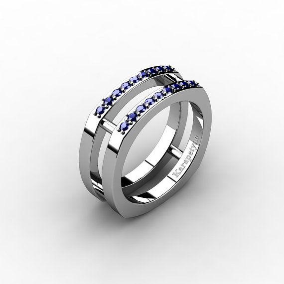 Mens Modern 14K White Gold Blue Sapphire Cluster by DesignMasters