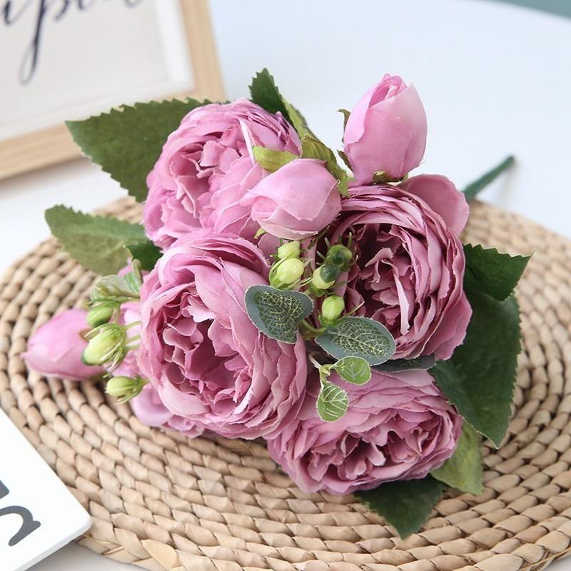 Photo of 5 Big Heads/Bouquet Peony Artificial Flowers Home Decoration Accessories Wedding Party Silk Peonies Diy Craft Roses Flowers – Purple