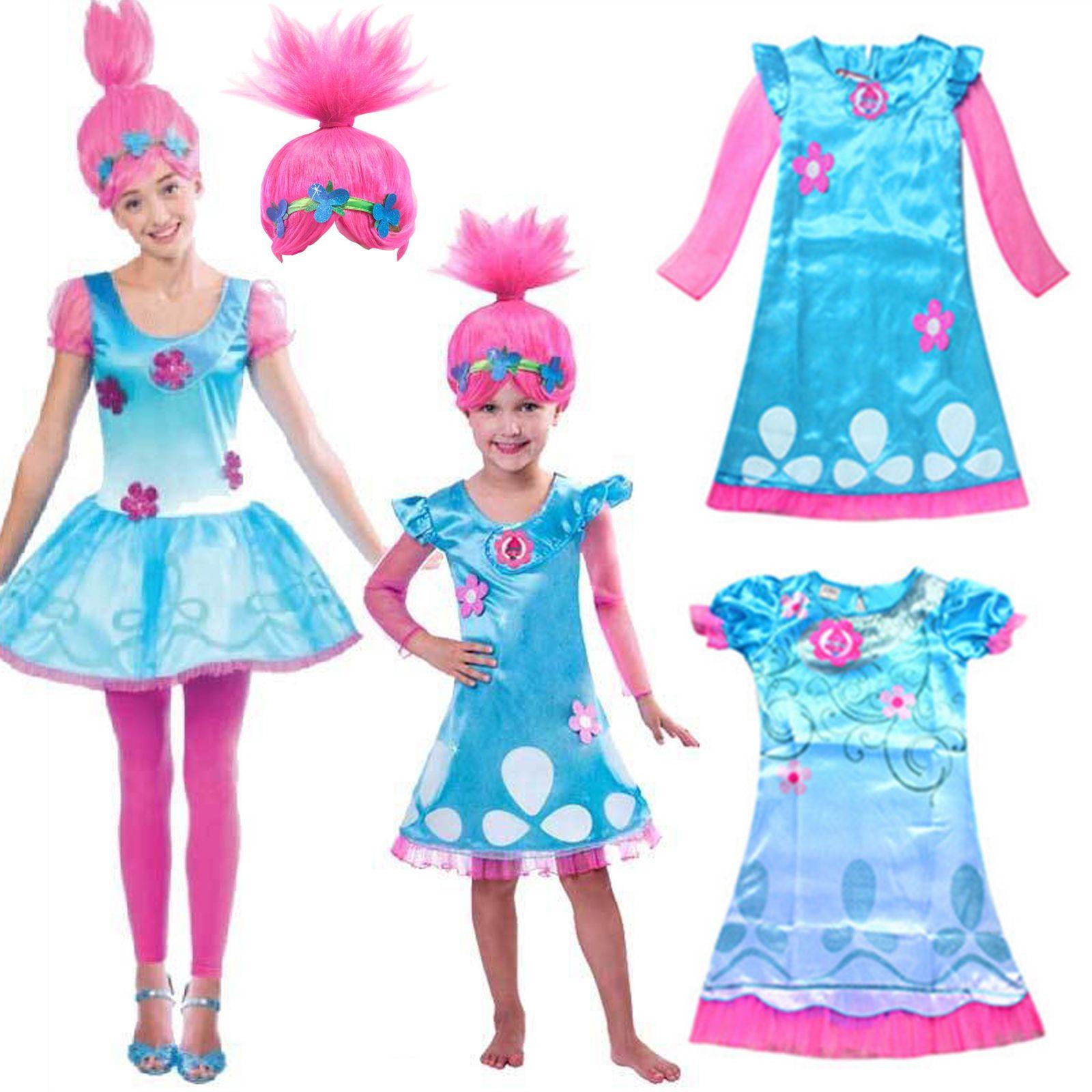 Toddler Kids Girls Wig Trolls Poppy Fancy Dress Costume Cosplay ...