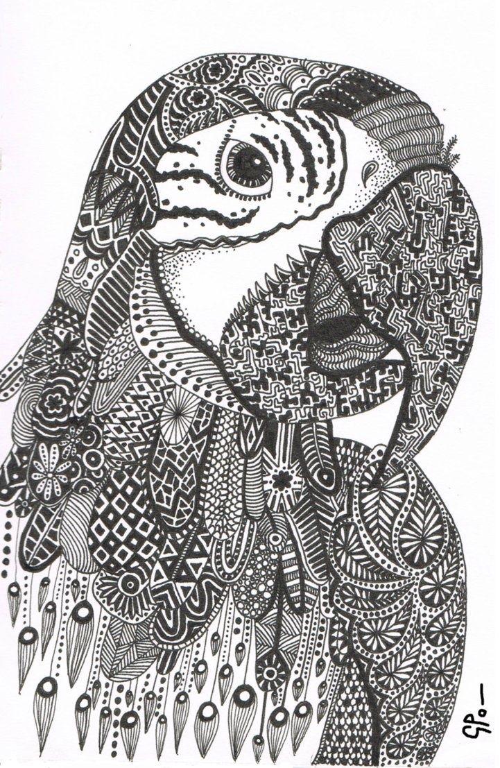 Zen doodle colour - Parrot Abstract Doodle Zentangle Zendoodle Paisley Coloring Pages