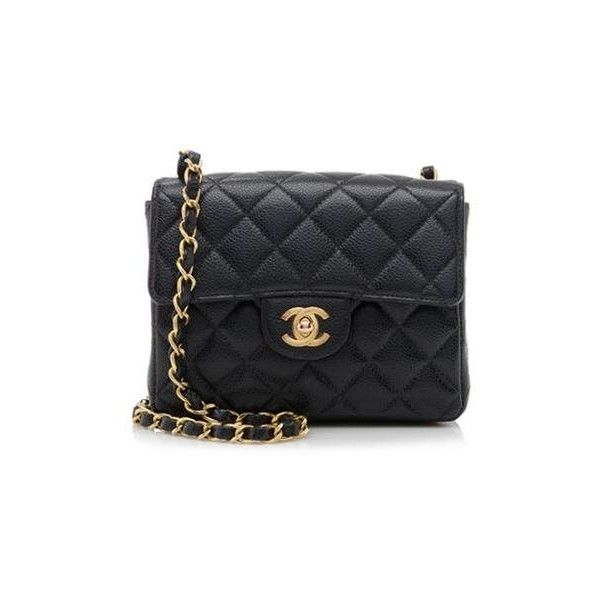7ab1482d3509 Rental Chanel Caviar Leather Classic Square Mini Flap Bag ($300) ❤ liked on  Polyvore