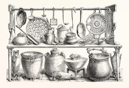 Cooking Utensils From Pompeii, in the Museum at Naples.
