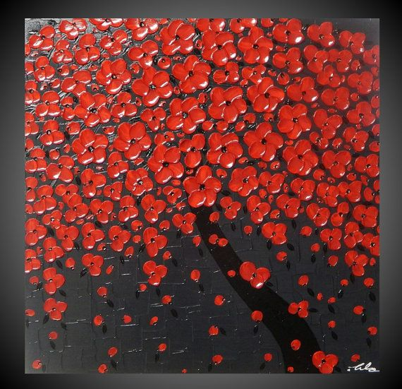 Tree Painting Red Flower Painting Abstract Painting Acrylic Painting