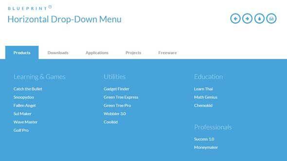 responsive horizontal drop down menu books template pinterest