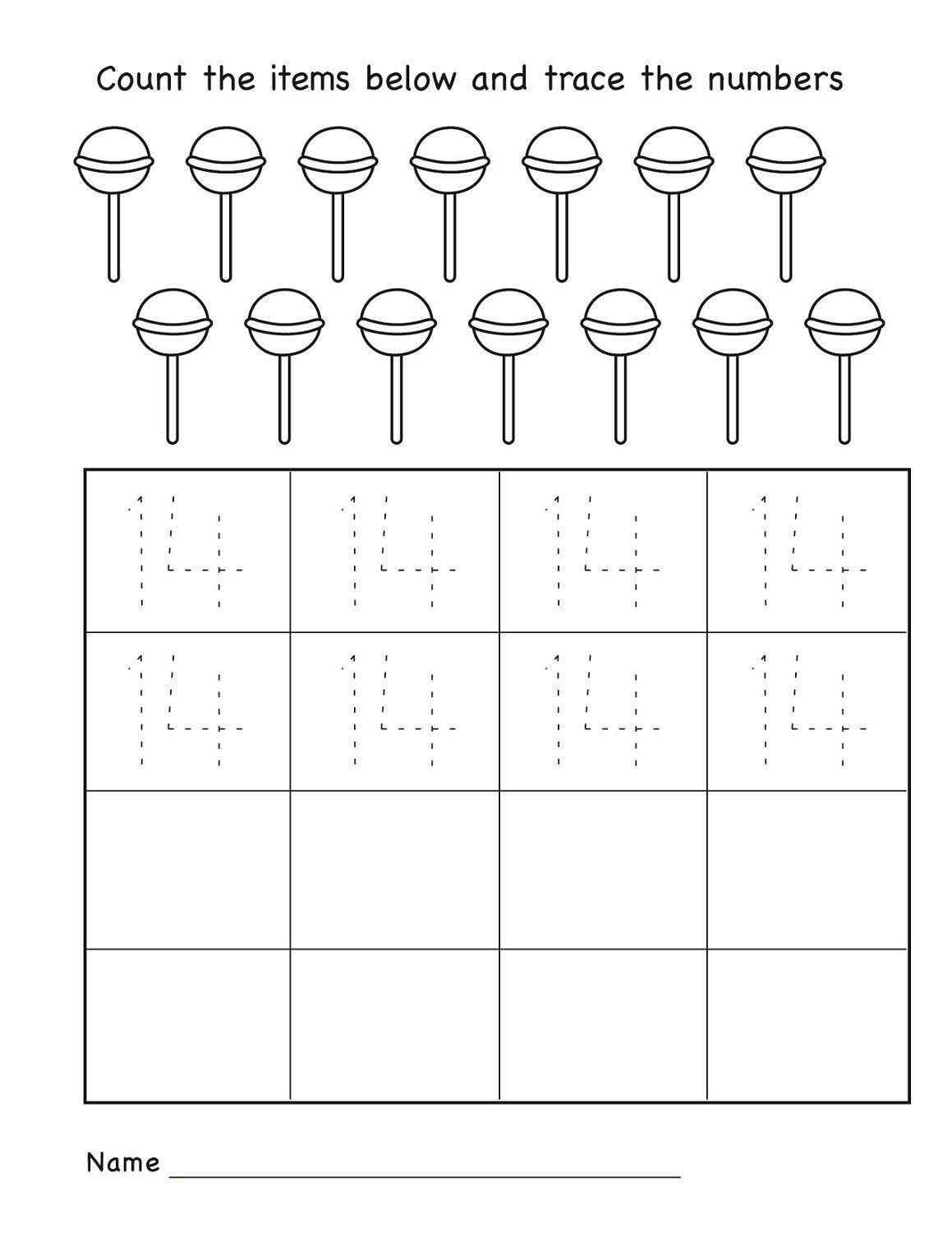 Number 14 Worksheet For Kindergarten
