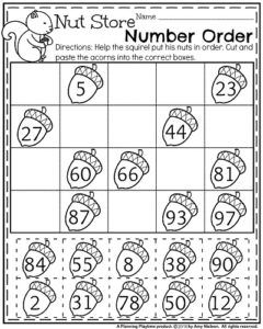 fall first grade worksheets nut store number order