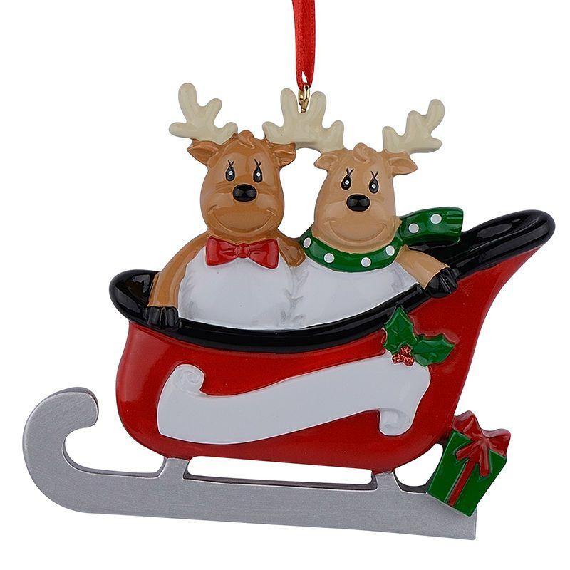 Resin Reindeer Family Sled Family Of 2 Christmas Ornaments