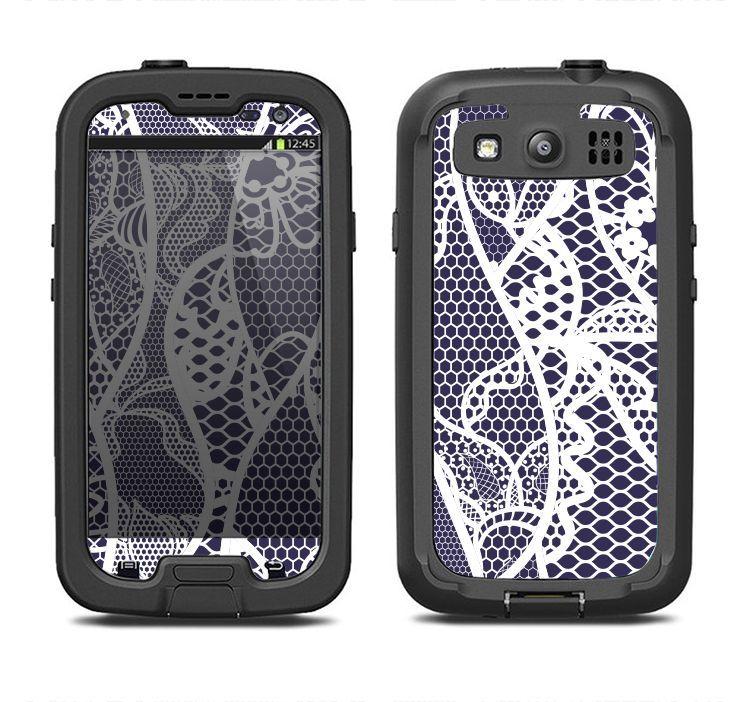 The Dark Blue & White Lace Design Samsung Galaxy S3 LifeProof Fre Case Skin Set