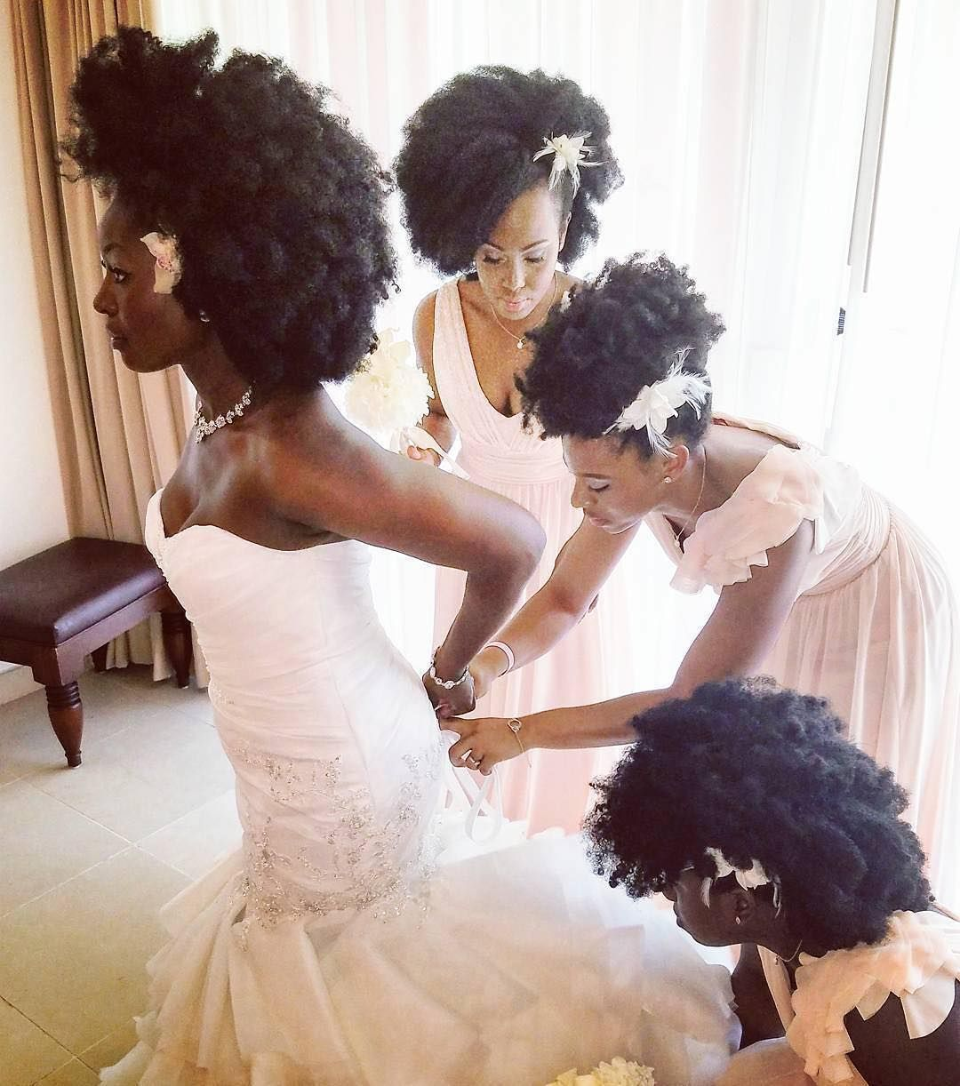 All that hair so beautiful and congrats to the bride stunning natural bride and bridal party slay beach wedding black girl with long hair ombrellifo Gallery