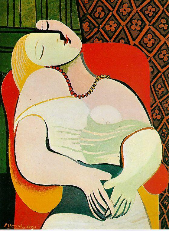 *꿈 (The dream)*   (파블로 피카소/ 1932)  〈꿈〉은 피카소가 프랑스 여인 마리 테레즈의 22세 때 모습을 화폭에 담은 것이다. 마리 테레즈와 피카소가 처음 만난 시점은 피카소가 첫 부인 올가와 여전히 결혼 생활을 하던 1927년으로 그 당시 테레즈의 나이는 고작 17세였고 피카소는 45세였다.     〈꿈〉은 피카소가 입체주의 시기를 벗어나 고전주의 시기에 들어서서 제작한 것이다. 다소 이국적인 벽지 무늬와 온통 원색으로 범벅이 된 여인의 인체는 프랑스 야수주의 회화를 연상하게 한다. 그렇지만 이 그림은 여인 좌상이라는 고전적 주제를 고수하면서도 여인의 얼굴, 팔, 가슴을 평면으로 분할하고 재구성하여 입체주의의 건재함을 과시하고 있다. 이 그림을 제작할 당시 기혼자 신분이던 피카소는 이 어린 소녀를 향한 성적 욕망으로 충만한 상태였을 것으로 추측할 수 있다.