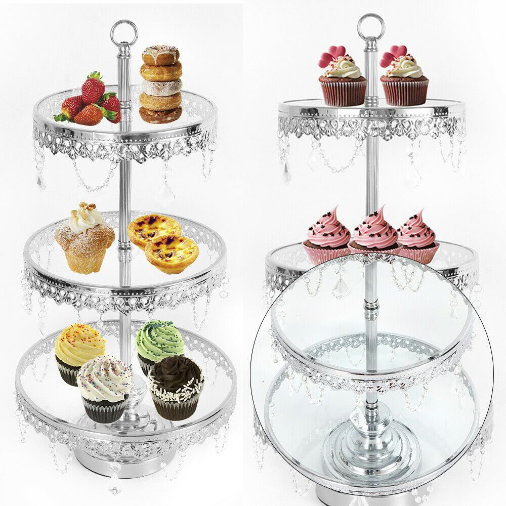 Ebay Sponsored 2 3tier Retro Chrome Cupcake Stand Crystal Pendant Wedding Dessert Display Us Cupcake Stand Wedding Dessert Display