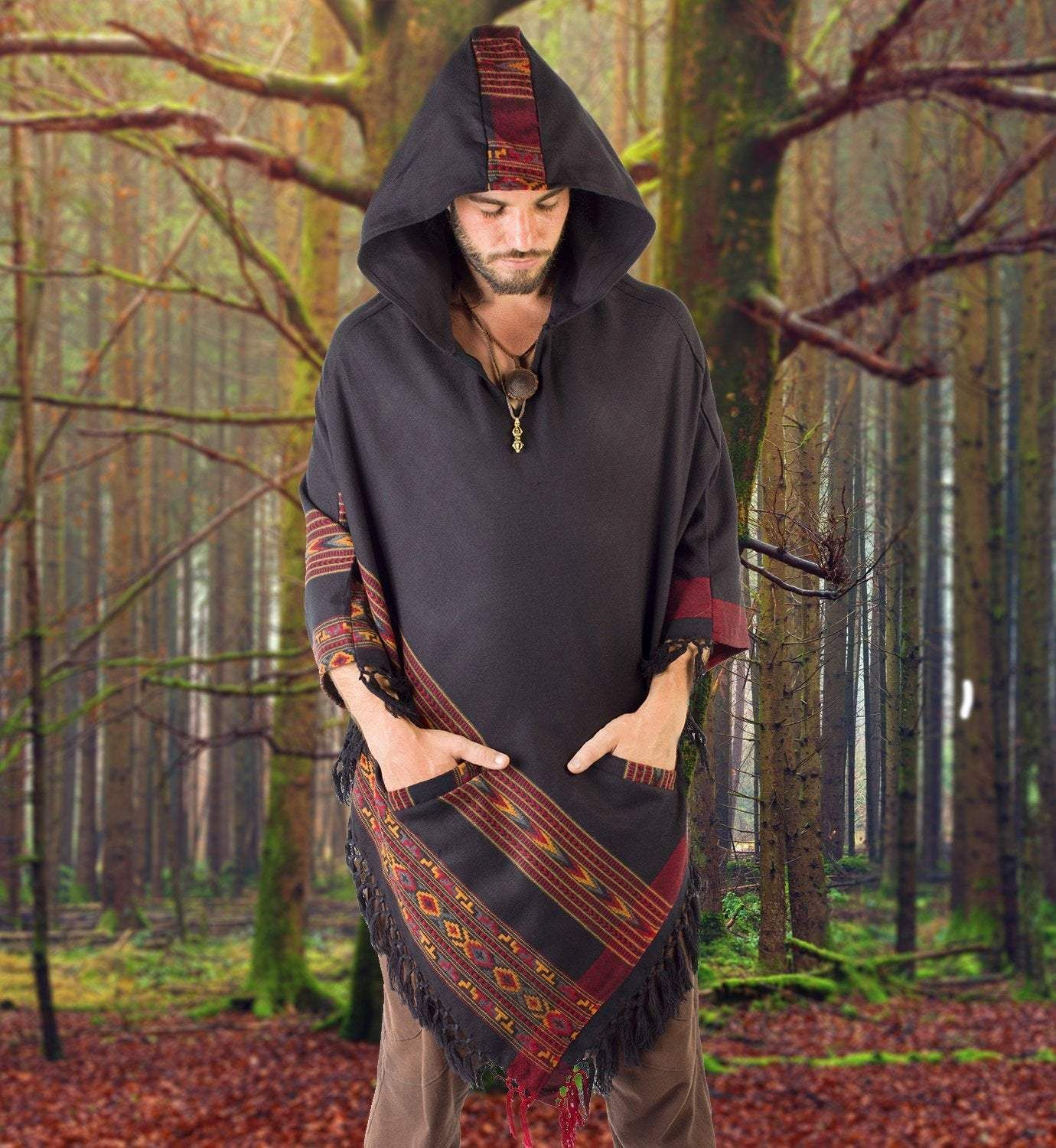 Handmade Poncho with Large Hood Brown YAK Cashmere Wool Earthy Tribal Pattern