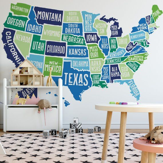 United States Map Wall Mural.Wall Decal America Map Nursery Decor Usa Map Wall Decor Removable