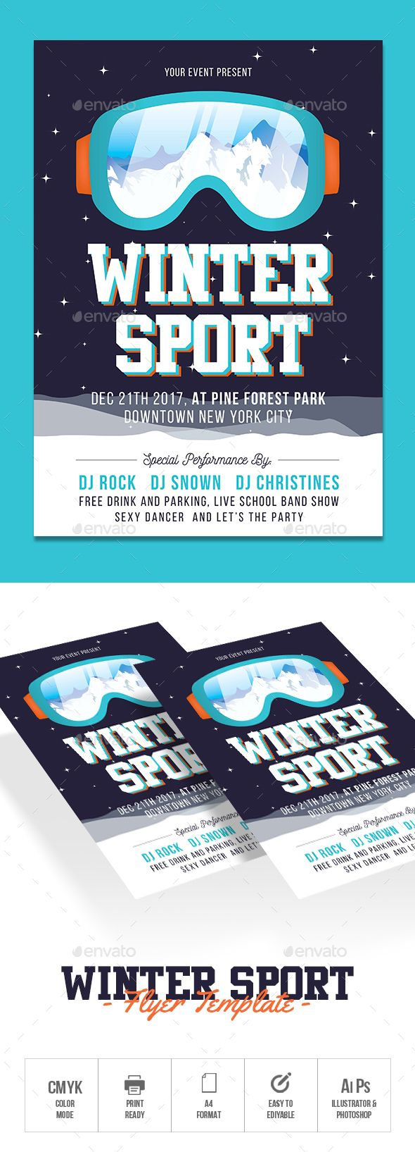 Winter Sports Flyer  Winter Sports Flyer Template And Template