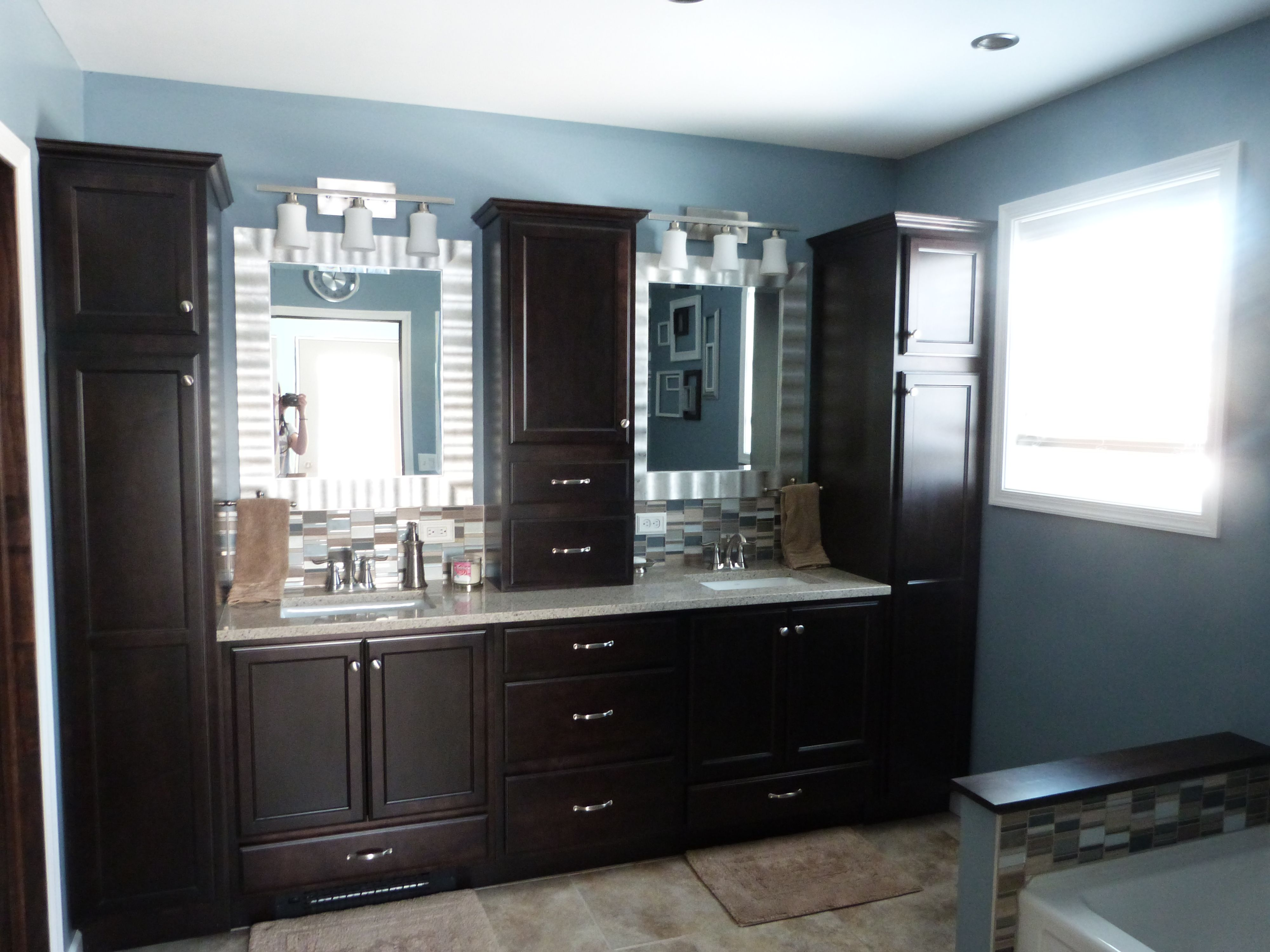 Master Bathroom Bathroom Decor Dark Cabinets Blue Bathroom