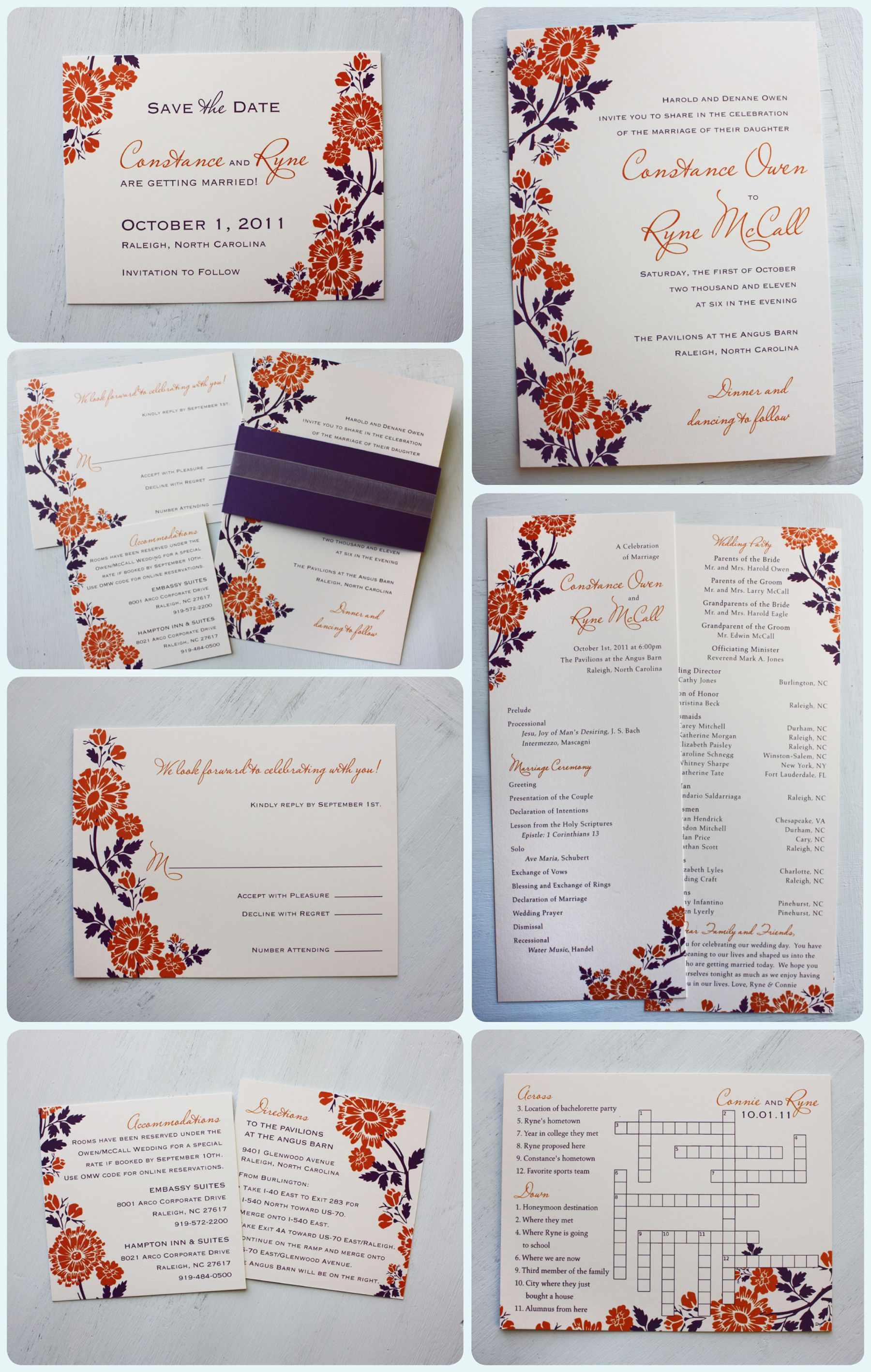Orange Dark Purple Flower Belly Band Wedding Invitations Save The Dates Programs And Crossword Puzzle