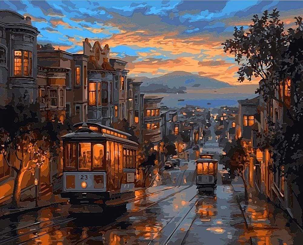 Картина по номерам «Последний трамвай» | Пейзажи ...