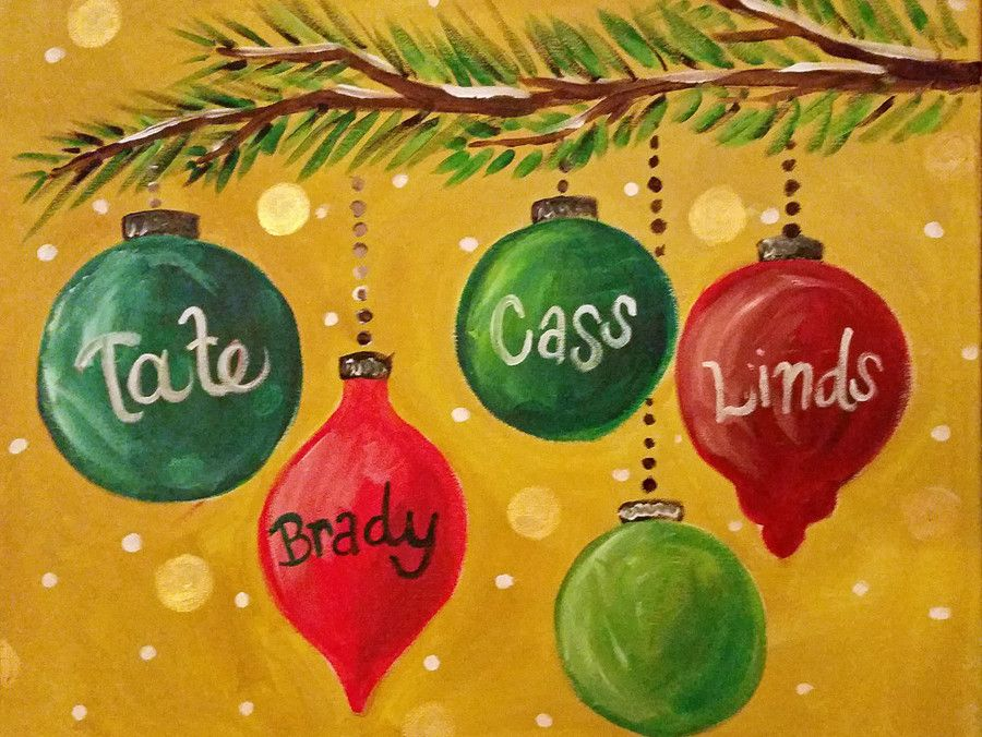 christmas ornament branch canvas painting   girls paint night ...