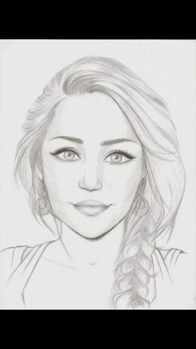 Miley Cyrus Face Drawing Portrait Drawing Sketches
