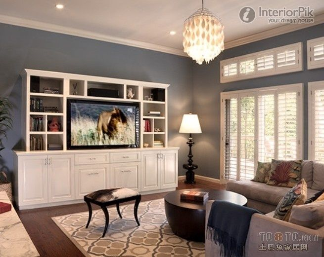 small apartment living room wall cabinet-wall decoration of the tv