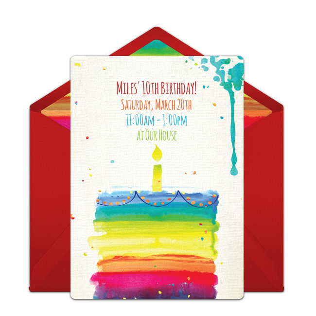 Free Rainbow Birthday Cake Invitations Cake online Rainbow